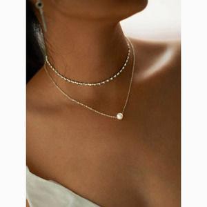 3/$30 Pearl Layered Jeweled Choker Necklace Set